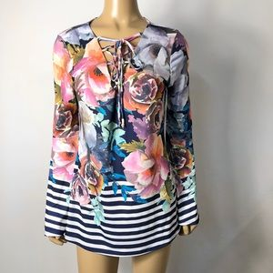 Bostonproper laceup floral striped bell sleeve top